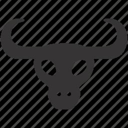 cow, decoration, design, horns, interior, skull icon