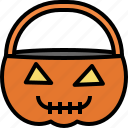 basket, halloween, horror, pumpkin icon