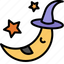 cartoon, halloween, moon, night icon