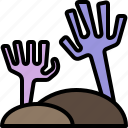 halloween, hand, monster, tomb, zombie icon