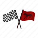 accessory, arrival, checkered, flag, horse racing, red icon