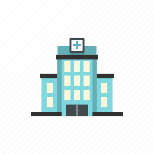 building, exterior, hospital, letter, medical, modern, window icon