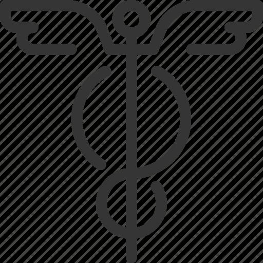 aid, caduceus, heal, health, hospital, pharmacy, snake icon