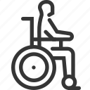 aged, disabled, help, hospital, recovery, transportation, wheelchair icon