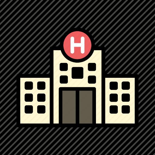 building, emergency, hospital, medical, sick icon