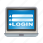 computer, in, laptop, log, out, sign icon