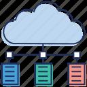 cloud computing, cloud data, cloud services, cloud technology, data sharing icon