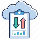 cloud data, data download, data sharing, data transfer, data upload, online data icon
