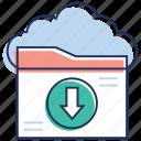 cloud computing, cloud data, cloud download, cloud services, cloud technology, data download icon