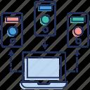 data center, data hosting, database hosting, network sharing, server database icon