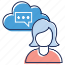 chat, cloud communication, instant messaging, online chat, online conversation icon