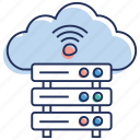 cloud computing, cloud hosting, database hotspot, wifi database, wifi server hosting icon