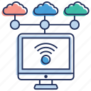 cloud computing, cloud hosting, cloud network, cloud network connection, cloud wifi icon