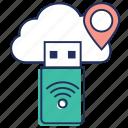 cloud usb, usb adapter, usb internet, usb modem, usb network adapter icon