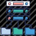 data connection, database file, database folder, server storage, shared data icon