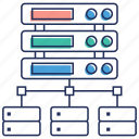 data connection, data sharing, database network, dataserver, networking icon