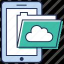 cloud folder, mobile data, mobile folder, online data, technology icon