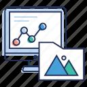 data chart, data monitoring, online analytics, statistics, web folder icon