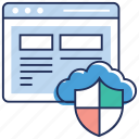 cloud computing, cloud data safety, cloud data security, cloud protection, network security, web security icon