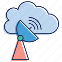 cloud technology, satellite dish, space antenna, wireless broadcasting, wireless network icon