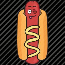 bun, dog, emoji, hot, mustard, smiley, weiner icon