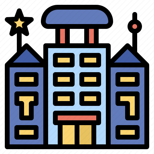 and, architecture, city, home, hotel, resort, trip icon