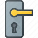door, handle, hole, key, lock icon