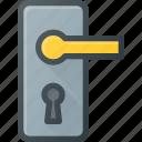 door, handle, hole, key, lock