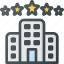building, five, hotel, luxury, star icon