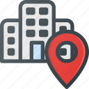 building, geolocation, hotel, location, pin icon