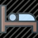 bed, hotel, sign, sleep