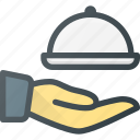 food, hand, hold, restaurant, waiter icon