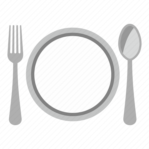 dish, fork, hotel, meal, plate, spoon, travel icon