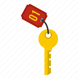 door, hotel, key, number, realistic, room, travel icon