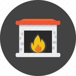 fire, flame, interior, light, relax, room, sofa icon