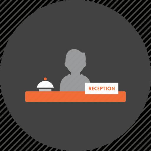 desk, front, holidays, hotel, reception, receptionist icon