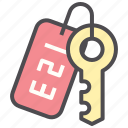 hotel, key, lock, number, room, secure icon