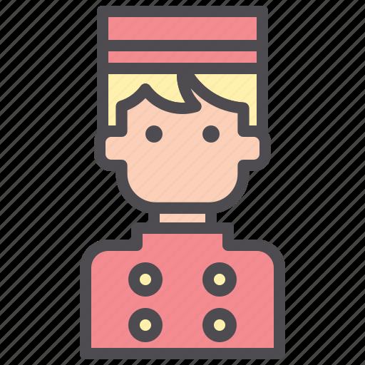 bellboy, bellhop, employee, hotel, man, porter, uniform icon