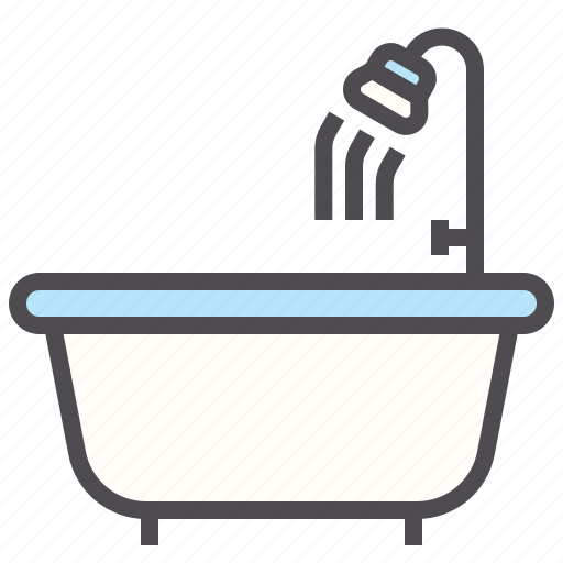 bathroom, bathtub, hotel, shower, wash, water icon