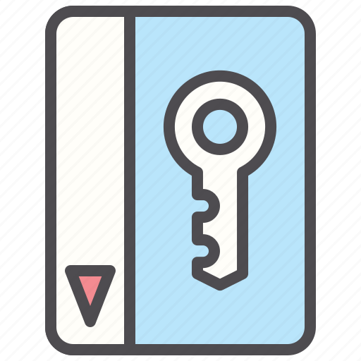 electronic, hotel, key, pass, room, secure icon