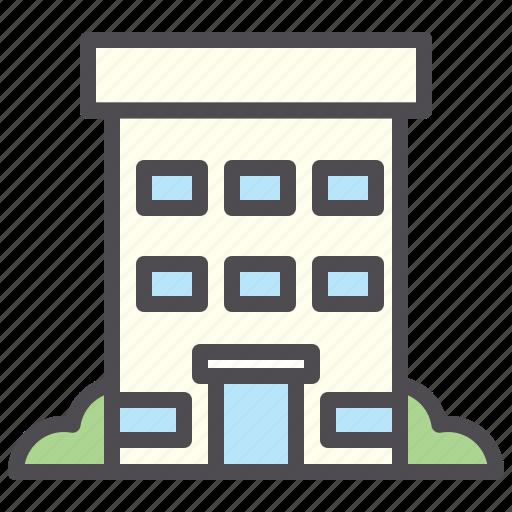 apartment, building, hotel, location icon