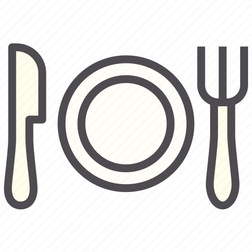 cutlery, dinner, fork, hotel, knife, plate icon
