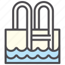 hotel, stairs, swimming pool, water icon