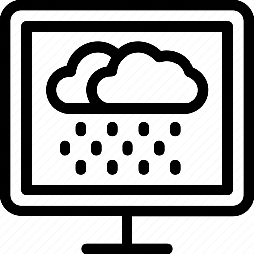 cloud, forecasting, monitor, raining, weather icon