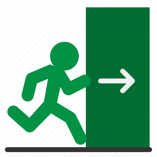 emergency, escape, exit, fire icon