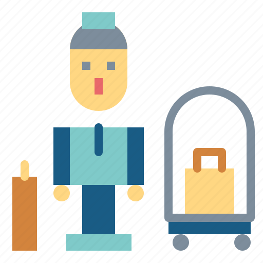 Trolley, hotel, bellboy, luggage icon