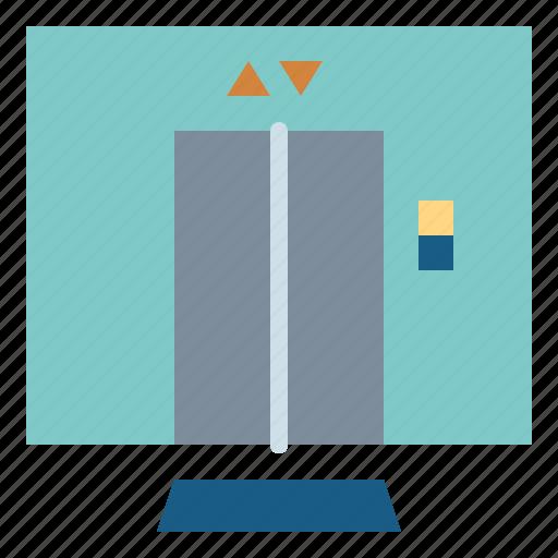 Hotel, lift, doors, elevator icon