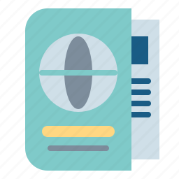 identification, identity, passport, travel icon