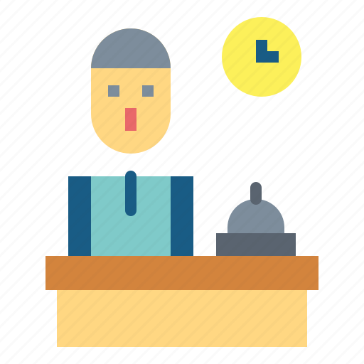 desk, front, hotel, reception, receptionist icon