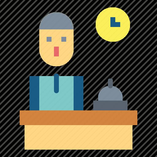 Front, hotel, receptionist, reception, desk icon